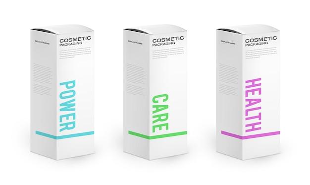 Cajas de papel 3d realistas con tipografía de embalaje colorida