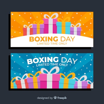 Cajas presentes envueltas para la venta del día del boxeo