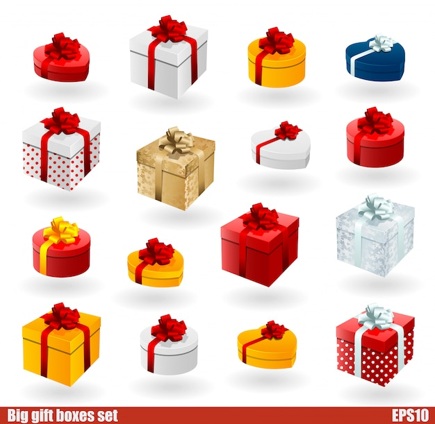 Cajas de regalo con arco aislado en blanco