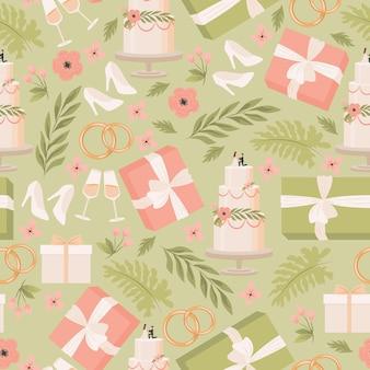 Cajas de regalo de boda vector plano de patrones sin fisuras novia zapatos blancos