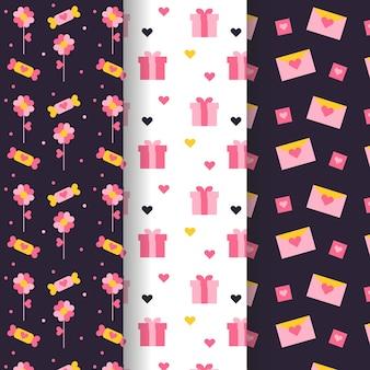 Cajas de regalo y cartas de patrones sin fisuras de san valentín