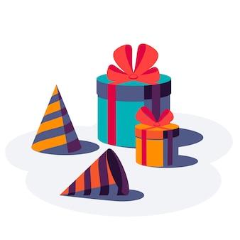 Cajas de regalo con cinta y lazo y sombreros de fiesta aislados