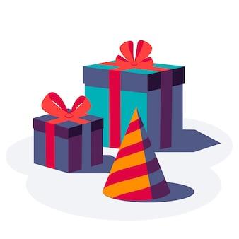 Cajas de regalo con cinta y lazo.