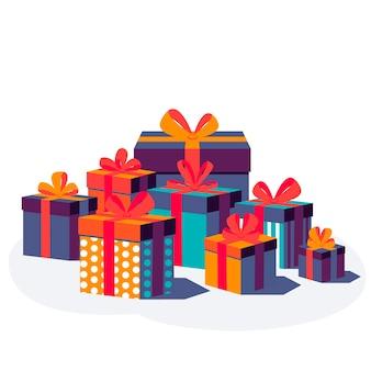 Cajas de regalo coloridas con cinta y lazo