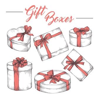 Cajas de regalo conjunto de bocetos