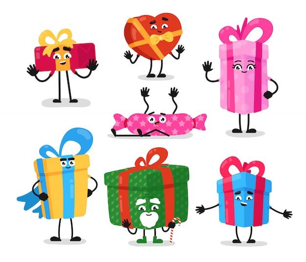 Cajas de regalo. embalaje divertido de objetos presentes