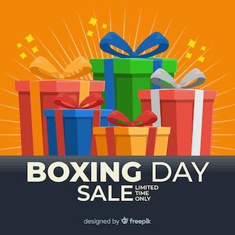 Cajas de regalo envueltas y cinta el día del boxeo