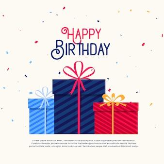 Cajas de regalo de feliz cumpleaños con confeti cayendo