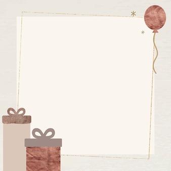 Cajas de regalo y globos con marco de luces de estrellas brillantes