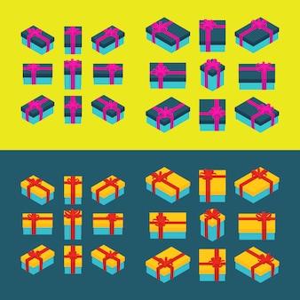 Cajas de regalo isométricas de colores