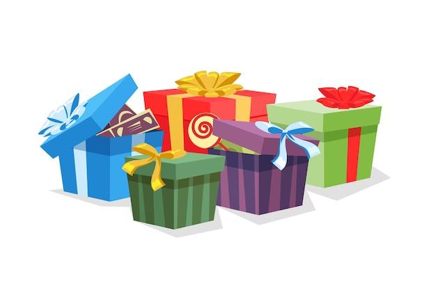 Cajas de regalo multicolor festivo en ilustración blanca. los niños de cumpleaños se presentan en la habitación. b-día, fondo de la tarjeta de felicitación de aniversario. decoraciones de fiesta, complementos.