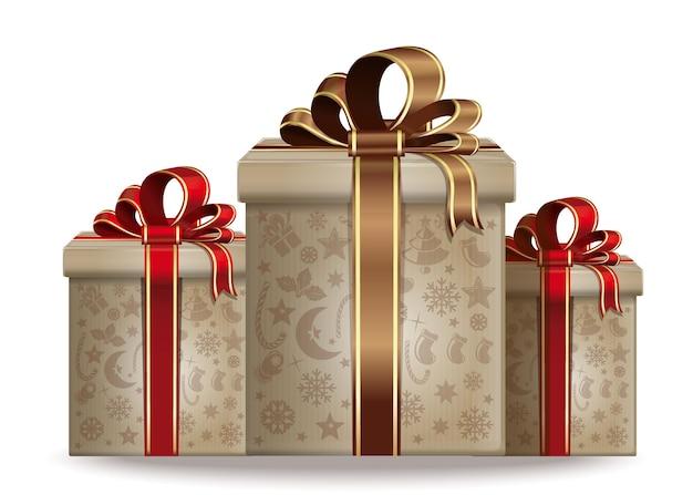 Cajas de regalo de navidad. regalos de año nuevo. ilustración vectorial