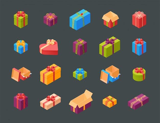 Cajas de regalo paquete composición evento saludo cumpleaños isométrica ilustración.