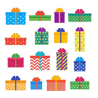 Cajas de regalo en piso. regalos envueltos con lazos y cintas. . establecer elementos aislados para tarjetas de felicitación y fondos.