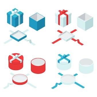 Cajas de regalo y presente coloridas con lazos de cinta. conjunto de letreros de caja abierta y cerrada.