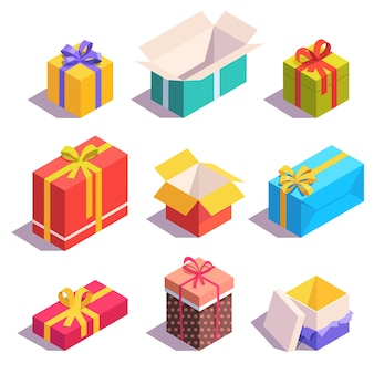 Cajas de regalo y regalo brillantes y coloridas