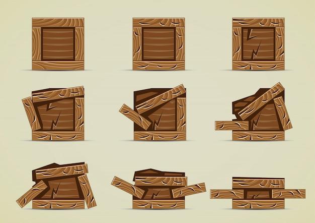 Cajas rotas de color marrón oscuro