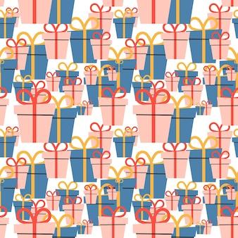 Cajas de vacaciones de dibujos animados con arcos. patrón sin costuras. ilustración de vector. eps10