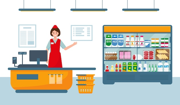 Cajera en caja registradora en supermercado cerca de escaparate con productos