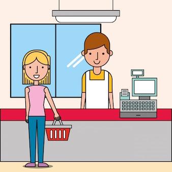 Cajera próxima caja registradora y cliente mujer tiene cesta de la compra