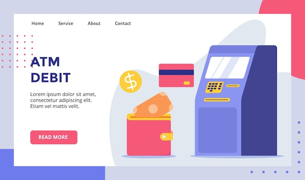 Cajero automático de débito para banner de plantilla de página de inicio de página de inicio de sitio web con estilo plano moderno