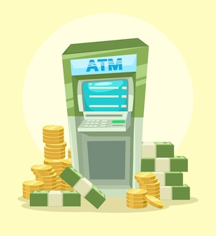Cajero automático de dibujos animados con dinero. icono de ilustración plana