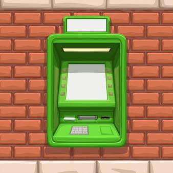 Cajero automático verde en pared de ladrillo rojo