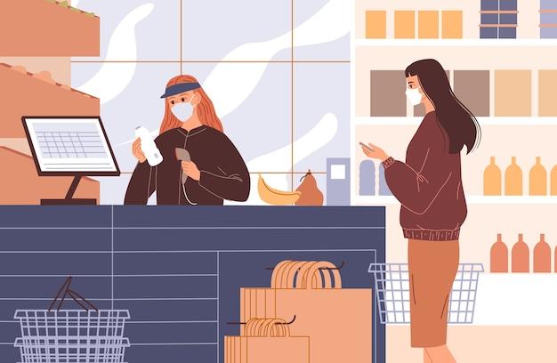 El cajero de la caja registradora escanea los productos del cliente. personas con máscaras faciales.
