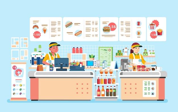 Cajero masculino y femenino en el restaurante de comida rápida con hamburguesa, doughnout, hotdog y muchas bebidas ilustración. utilizado para la imagen del sitio web, carteles, pancartas y otros