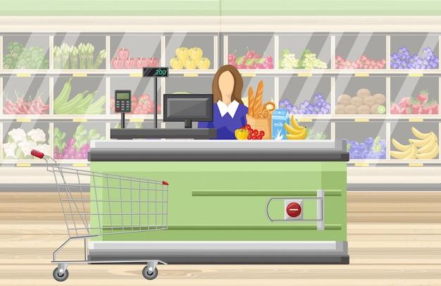 Cajero en el supermercado