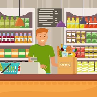 Cajero en la tienda de comestibles plana