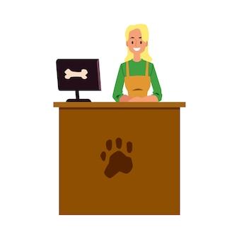 Cajero de la tienda de mascotas de pie en el mostrador de la caja registradora con el símbolo de la huella de la pata - mujer joven en la tienda de productos para animales o la recepción de la clínica veterinaria. ilustración