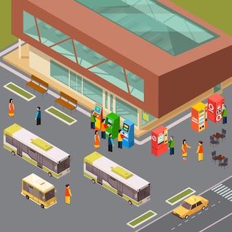 Cajeros automáticos y máquinas expendedoras de boletos en la estación de autobuses y café al aire libre isométrica 3d
