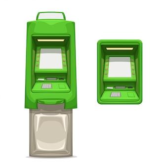 Cajeros automáticos verdes diferentes en blanco