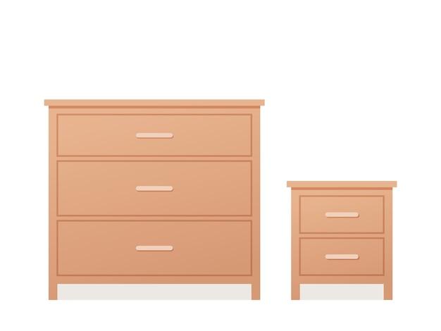 Cajonera y cómoda de diseño plano. ilustración.