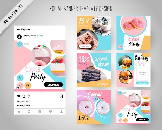 Cake social media banners para marketing digital