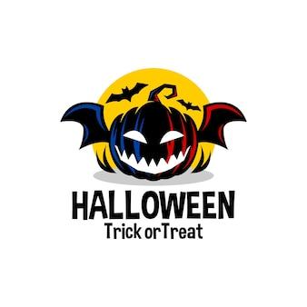 Una calabaza aterradora con alas de murciélago halloween vector logo ilustración plantilla de vector de terror