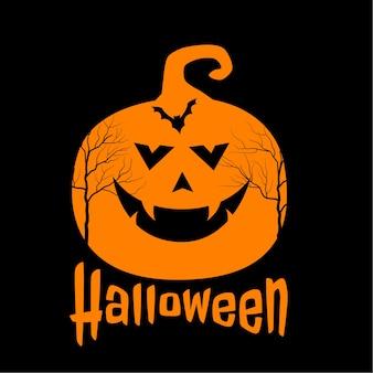 Calabaza aterradora y murciélago sobre fondo de halloween feliz