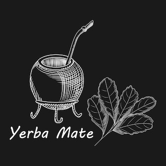 Calabaza y bombilla para bebida de yerba mate sobre fondo negro
