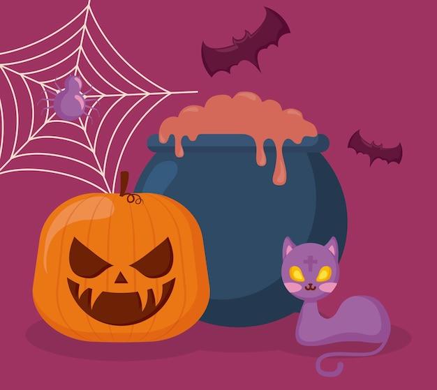 Calabaza con caldero e iconos halloween.