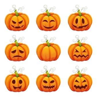 Calabaza con caras graciosas. dibujos animados de halloween diferentes