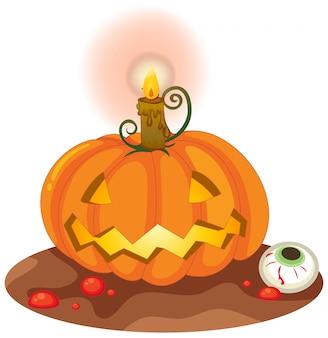 Calabaza de halloween en el fondo blanco