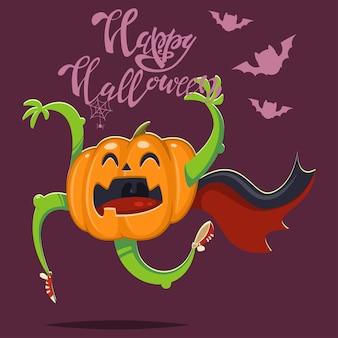 Calabaza divertida en una capa de vampiro con murciélagos. ilustración de halloween con carácter vegetal y texto a mano.