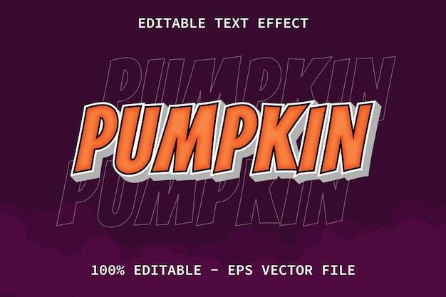 Calabaza con efecto de texto editable de estilo moderno