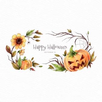 Calabaza enojada y flores feliz halloween