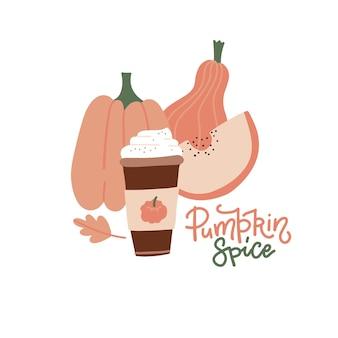 Calabaza especia latte taza de papel caliente de café con crema canela otoño hojas de roble letras cita p ...