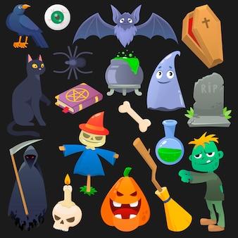 Calabaza espeluznante de halloween aterrador gato fantasma o horror zombie ilustración conjunto de dibujos animados araña cráneo y murciélago aislado sobre fondo negro