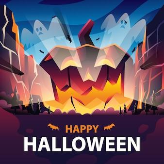 Calabaza espeluznante halloween para redes sociales