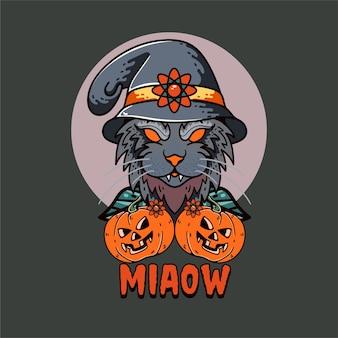 Calabaza con gato ilustración carácter feliz halloween con cuervo