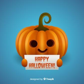 Calabaza de halloween aislada sujetando cartel